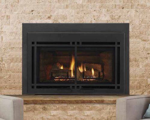 Majestic Athletic 35'' Direct Vent Large Gas Insert with Black Door and Large Surround by Majestic