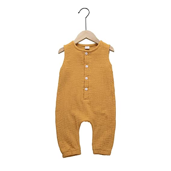 Haokaini - Mono de Lino sin Mangas para bebés, niñas y niños, Mameluco con Botones Informal, Traje para niño pequeño