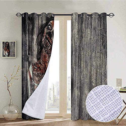 NUOMANAN Window Curtains Zombie,Angry Dead Woman Sacrifice Fantasy Design Mystic Night Halloween Image,Dark Taupe Peach Red,Tie Up Window Drapes Living Room 52