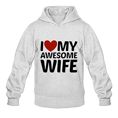 Yhdjk Men's I Love My Awesome Wife Art Hoodie Light Grey L