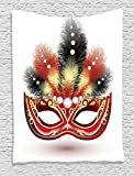 Ambesonne Masquerade Decorations Collection, Party Mask with Decorative Feathers and Diamonds Illustration Print