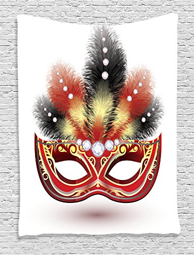 Ambesonne Masquerade Decorations Collection, Party Mask with Decorative Feathers and Diamonds Illustration Print, Bedroom Living Room Dorm Wall Hanging Tapestry, Black Red Yellow White