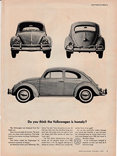 Vintage Vw Ads (1960 VW Beetle Volkswagen- Original Magazine Ad -Car Auto - Beautiful or Homely?)