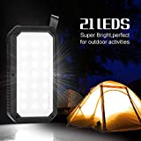 Solar Charger, 8000mAh BESWILL Solar Power Bank Phone Charger with 3 USB Output Ports and 21 LED Lights Portable Panel External Battery for Camping Outdoor for Smart Devices iOS Android