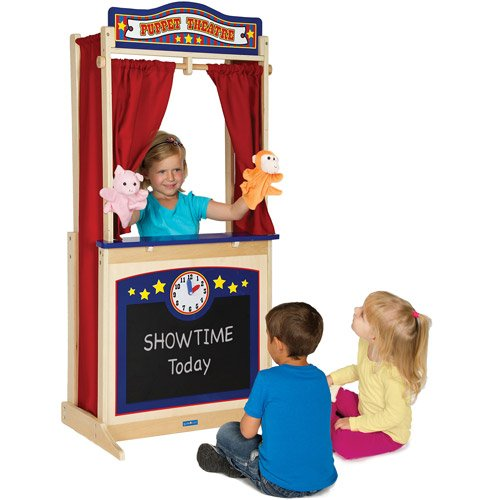 (Guidecraft Wooden Floor Puppet Theater For Kids: Includes Chalkboard, Curtains, Clock and Interchangeable Signs - Toddler Dramatic Play)