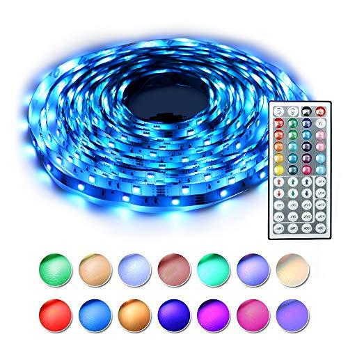 BAILONGJU Led Strip Lights kit 5M 16.4 Ft 5050 RGB 150 LEDs Flexible Color Changing Strip Lights with Remote 44 Keys 12v Power Supply, Rope led Lights for Home, Kitchen, Bedroom Decorative (Lights Decorative Led For Home)