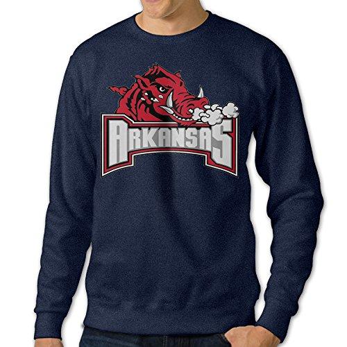 ReBorn Men Pullover University Mascot Arkansas Long Sleeve Tee Navy L