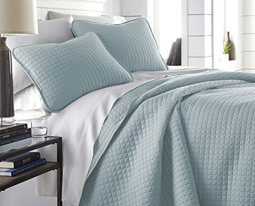 Southshore Fine Linens - Vilano Springs Oversized 3 Piece Quilt Set, King/California King, Sky Blue