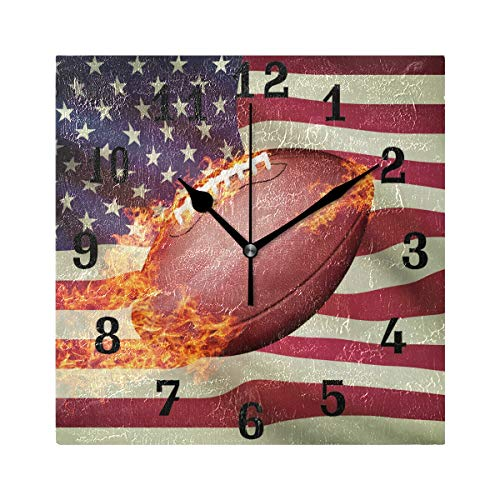 - SEULIFE Wall Clock American USA Flag Football, Silent Non Ticking Clock for Kitchen Living Room Bedroom Home Artwork Gift