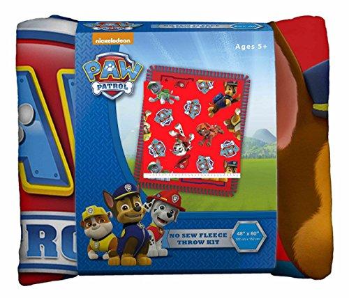 Paw Patrol Crew No-Sew Throw Anti-Pill Fleece Fabric Kit (Sew Throw No Fleece Kit)