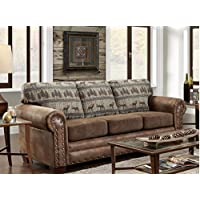 American Furniture Classics Sofa in Deer Teal Lodge Tapestry, Deer Teal Tapestry