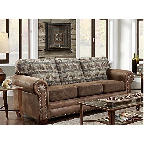 American Furniture Classics Sofa In Deer Teal Lodge Tapestry Deer Teal Tapestry