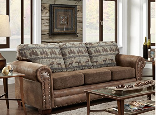 American Furniture Classics Deer Teal Lodge Tapestry Sofa Sleeper, Deer Teal Tapestry (Sofa Rustic)