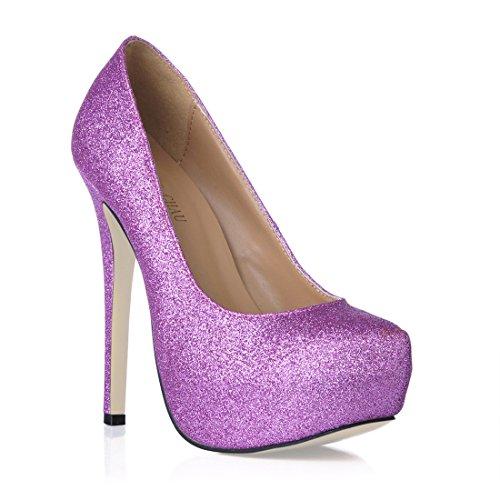 Fermé Coloris plateforme escarpins plusieurs stiletto Haut Rond sexy bout talon Chau fête 3cm semelle aiguille Compensée Femmes Chmile Violet q0wTS8c