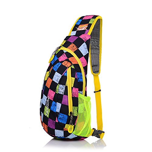 Hilitchi Outdoor Sports Casual Unbalance Impression Style Backpack Crossbody Sling Shoulder Chest Bag (Colorful Lattice)
