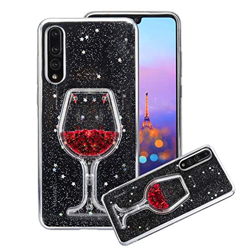 Price comparison product image Aearl Huawei P20 Pro Liquid Glitter Case, 3D Creative Love Heart Wine Glass Luxury Bling Diamond Red Star Flowing Floating Quicksand Clear Soft TPU Phone Case for Huawei P20 Pro (6.1 inch)