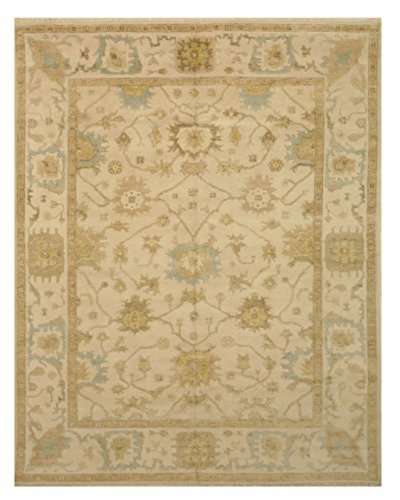 EORC OUS4IV9X12 Hand Knotted Wool Oushak Rug, 8' x 10', Ivory