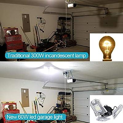 LED Garage Lights Deformable LED Garage Ceiling Lights 6000 Lumen 60W CRI 80 Led Shop Lights for Garage with 3 Adjustable Panels Led Garage Lighting (No Motion Activated)