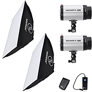 """Neewer 600W(300W x 2) 5600K Photography Studio Flash Strobe Light Lighting Kit with (2)20x28""""/50x70cm softbox &(1)RT-16 Trigger for Video Shooting,Location and Portrait Photography"""