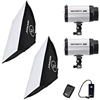 Neewer 600W(300W x 2) 5600K Photography Studio Flash Strobe Light Lighting Kit with (2)20x28/50x70cm softbox &(1)RT-16 Trigger for Video Shooting,Location and Portrait Photography