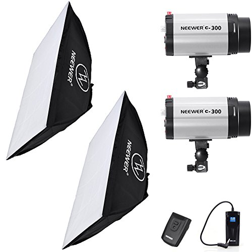 Neewer 600W(300W x 2) 5600K Photography Studio Flash Strobe Light Lighting Kit with (2)20x28''/50x70cm softbox &(1)RT-16 Trigger for Video Shooting,Location and Portrait Photography by Neewer