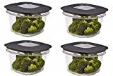 : Rubbermaid Premier Food Storage Container, 2 Cup, Grey (4 Pack)