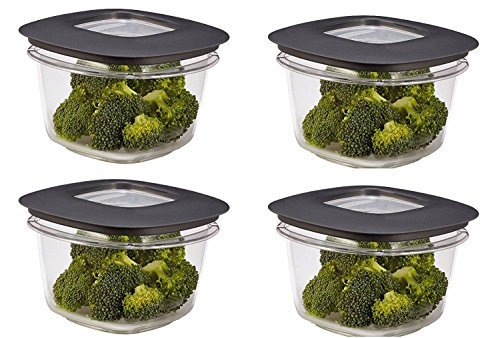 Rubbermaid Premier Food Storage Container, 2 Cup, Grey (4 Pack) ()