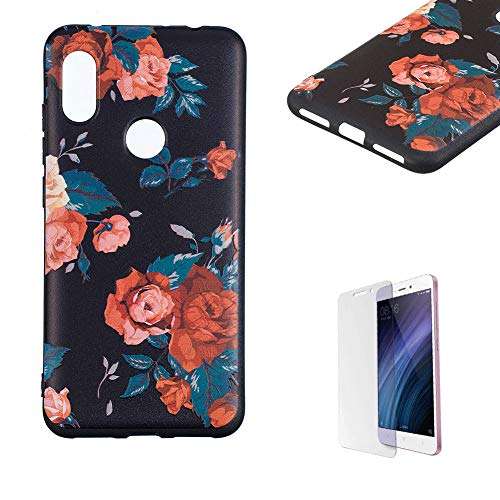 Price comparison product image Funyye Relief Rubber Case for Xiaomi Redmi Note 6, Stylish Red Flowers Pattern Soft Silicone TPU Gel Cover, Shockproof Non Slip Back Cover Smart Shell Protective Case for Xiaomi Redmi Note 6