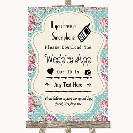 Vintage Shabby Chic Rose - Cartel de boda colección Vintage ...