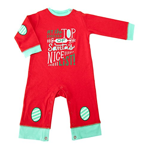 Hallmark Baby Festive Holiday Daytime One Piece Bodysuit (6-9 Months, Red, Nice List)