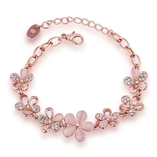 BEMI New Design Rose Gold Metal Cat Eye Zircon Flower Charm Bracelet Love Gift Chain Bracelets for Women Flowers (Eye Bracelet Cat Flowers)