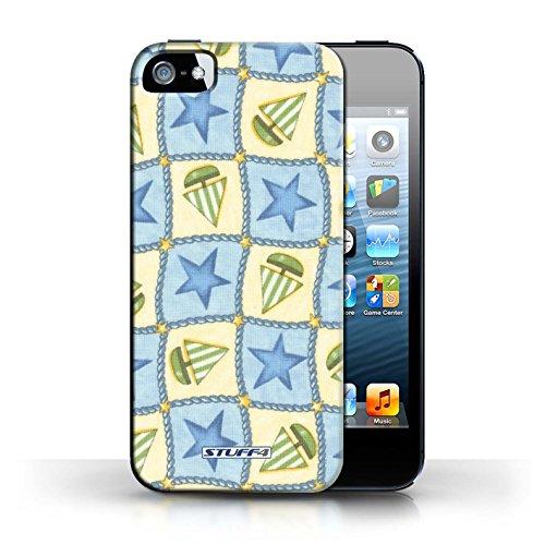 Etui / Coque pour Apple iPhone 5/5S / Bleu/Vert conception / Collection de Bateaux étoiles