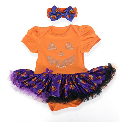 Baby's All in 1 Fancy Dress Halloween Christmas Princess Party Romper Suits (M (3-6 Months), Pumpkin-Orange)