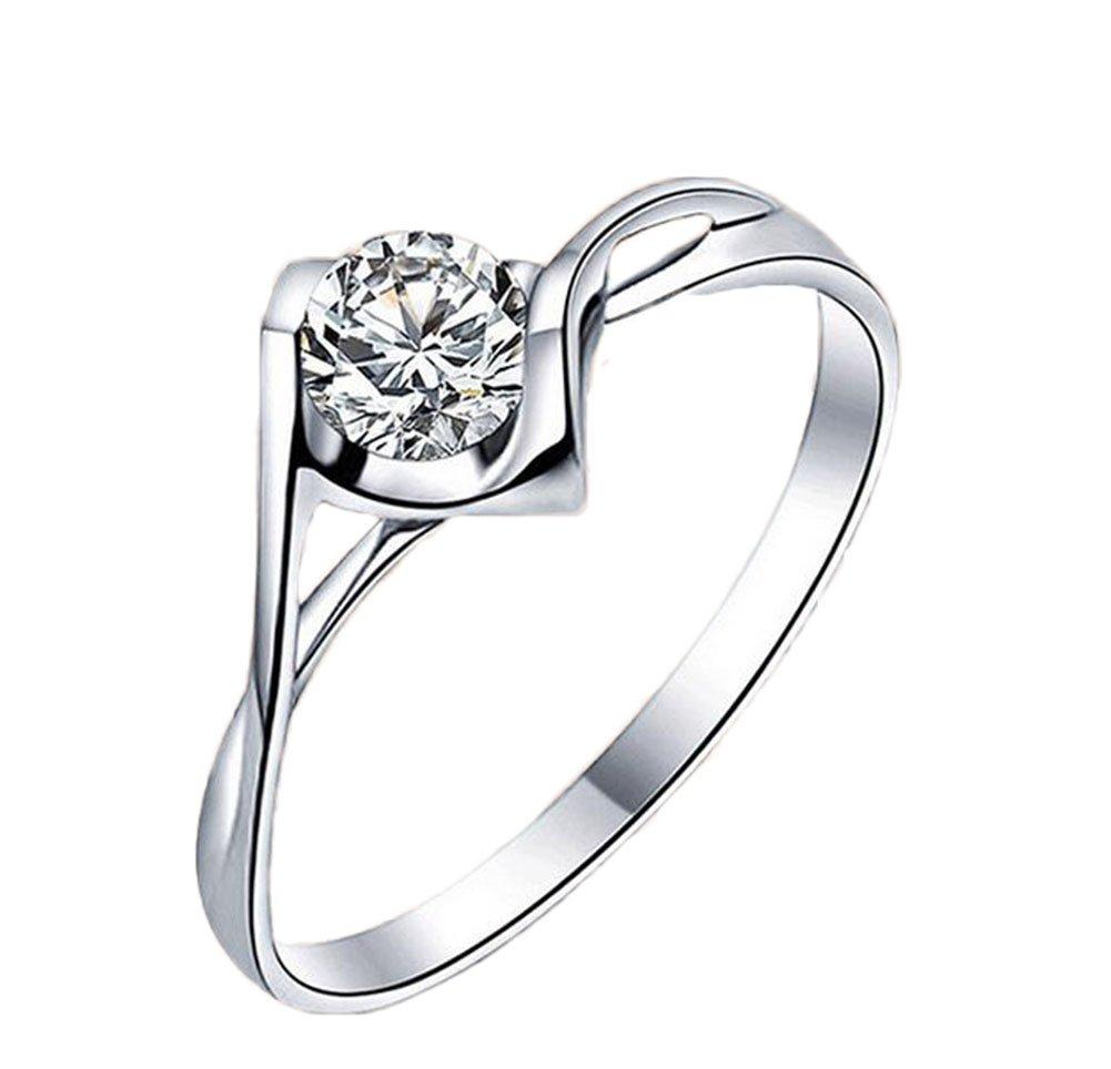 Westeng femmina anello elegante anello con diamanti artificiali argento gioielli anello a forma di cuore
