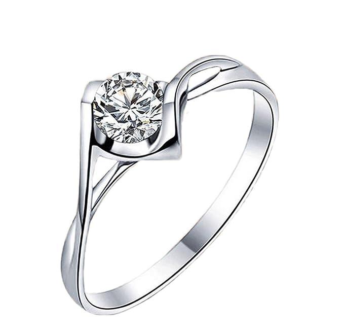 784f405acef1 Daliuing Elegante Anillo de Diamante Corazón de Cristal Anillos Abiertos  Anillo de Plata Ajustable Joyería de
