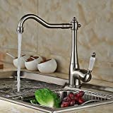 Contemporary Beverage Centerset Pullout Spray withCeramic Valve Single Handle One Hole forNickel Brushed Kitchen faucet / Bathroom 17