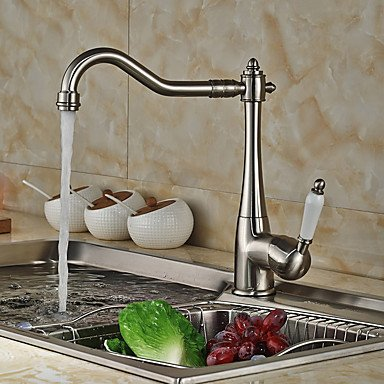 Contemporary Beverage Centerset Pullout Spray withCeramic Valve Single Handle One Hole forNickel Brushed Kitchen faucet / Bathroom 17 by Zheng