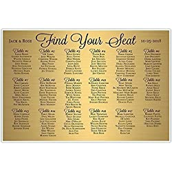 Gold and Black Wedding Seating Chart Sign Poster