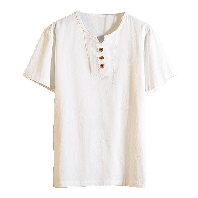 Juqilu Camisa Hombre Lino Blusa Suelta Casual Transpirable Top de Manga Corta Camisas Sin Cuello de Color Sólido Blusas de… EQgAE0