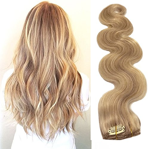 Clip in Human Hair Extensions with Blonde Highlights 7 Pieces 70g Body Wave Weft Remy Real Hair