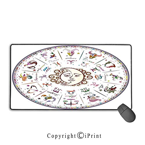 Forecast Blush - Mouse pad with Lock,Zodiac Decor,Astrology Map with Descriptions Forecast for Person Future Birth Natal Earth Theme,Multi,Ideal for Desk Cover, Computer Keyboard, PC and Laptop,15.8