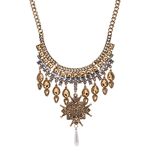 efigo Fashion Statement Necklace Choker Collar Bib Necklace Vintage Bohemian Custom Necklace Costume Jewelry for Women Girls (Retro Gold)
