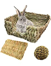 PINVNBY PortableBunny Grass Bed Hand-Made with Small Rabbit Natural GrassHay Mat Pets Grass Ball Toys for Hamster Chinchillas Guinea Pigs Cat and Small Animals provided Chewing and Play(3 Pack)