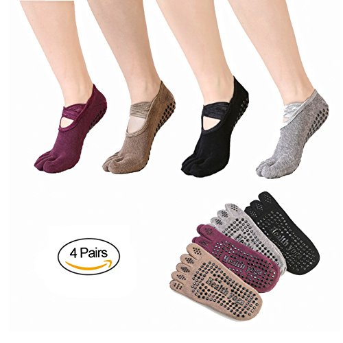 Yoga Toe Socks Grip Non Slip Skid for Ballet, Yoga, Pilates, Barre, Exercise, Dance, Studio, Hospital, Gifts For Women 4 Pairs black,gray,purple,brown 5-9