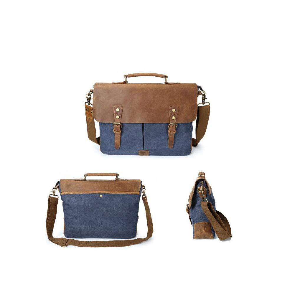 Military Green Coral Blue Blue Xinyaun Men Messenger Bag Canvas Briefcase Multi-functiona Handbag Shoulder Bag Retro Business Bag 15.6-inch Laptop Bag Leisure Khaki Color : E Dark Gray