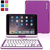 Funda con Teclado para iPad Mini 1 / 2 / 3, SnuggTM - Carcasa Violeta Giratoria 360° con Teclado Bluetooth Y Garantía De Por Vida Para Apple iPad Mini, iPad Mini 2 y iPad Mini 8