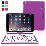 iPad Mini Keyboard, Snugg™ Purple Wireless Bluetooth iPad Mini 1 / 2 / 3 Keyboard Case Cover ...