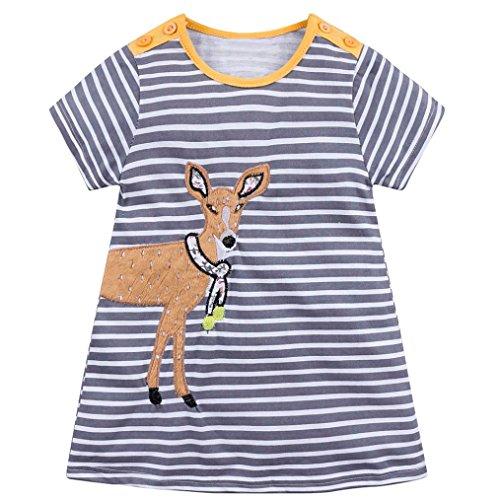 Omiky® Infant Baby Kinder Mädchen Cartoon Kleider Gestreifte Tiere Outfits Kleidung Grau