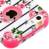Kaleidio Case Compatible For Apple iPhone 5 / 5s / iPhone SE [TUFF] Rugged Shockproof Hybrid Dual Layer Protective Heavy Duty Armor Cover [Includes a Overbrawn Prying Tool] [Fresh Pink Flowers]