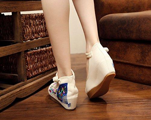 Avacostume Donna Ricamo Fiore Oxford Casual Scarpe Da Sera Bianche